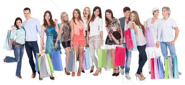 Large group of people with shopping bags Stock photo © AndreyPopov