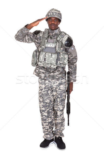 Army Soldier Saluting Stock photo © AndreyPopov