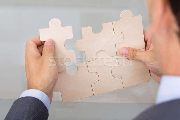 ビジネスマン ジグソーパズル 肩 表示 ビジネス 男性 ストックフォト © AndreyPopov
