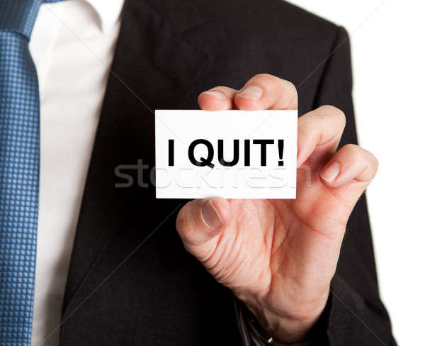 Businessman Showing Card With I Quit Sign Stock photo © AndreyPopov
