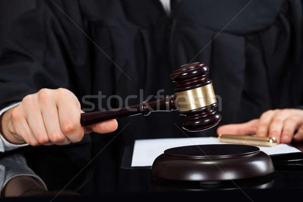 Judge With Mallet At Desk Stock photo © AndreyPopov