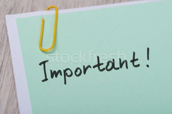 Important ! Paper Note With Paperclip Stock photo © AndreyPopov