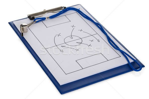 Whistle And Soccer Tactic Diagram On Paper Stock photo © AndreyPopov