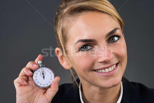 Foto stock: Mujer · de · negocios · cronógrafo · gris · primer · plano · jóvenes