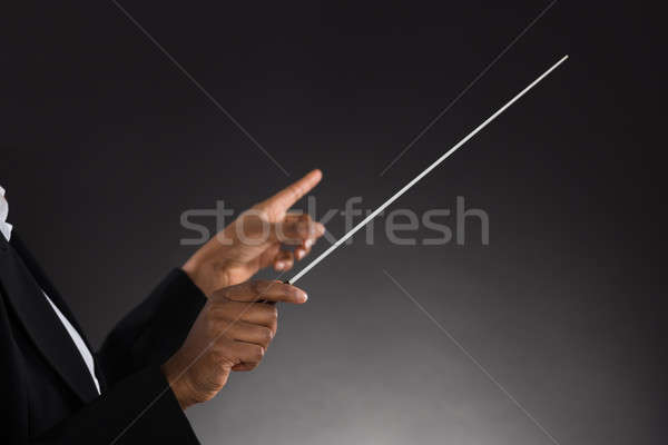 Female Orchestra Conductor Holding Baton Stock photo © AndreyPopov