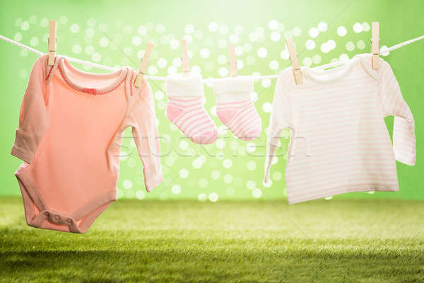 Baby Cloths Hanging On Rope Stock photo © AndreyPopov