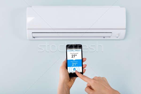 人 手 空調装置 クローズアップ 温度 ストックフォト © AndreyPopov