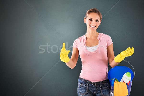 Kobiet woźny portret czyszczenia Zdjęcia stock © AndreyPopov