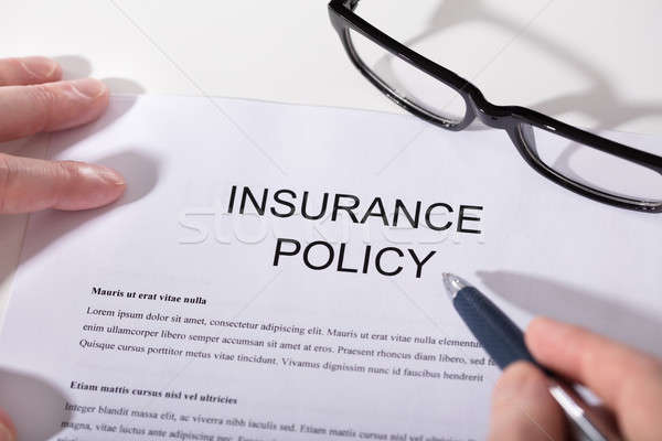 Person's Hand Over Insurance Policy Form Stock photo © AndreyPopov