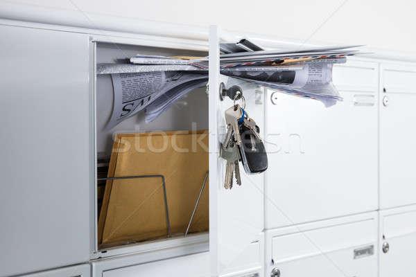 Open mailbox kranten brieven metaal Stockfoto © AndreyPopov