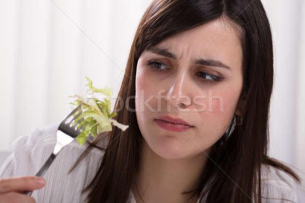 女性 キャベツ サラダ フォーク 若い女性 ストックフォト © AndreyPopov