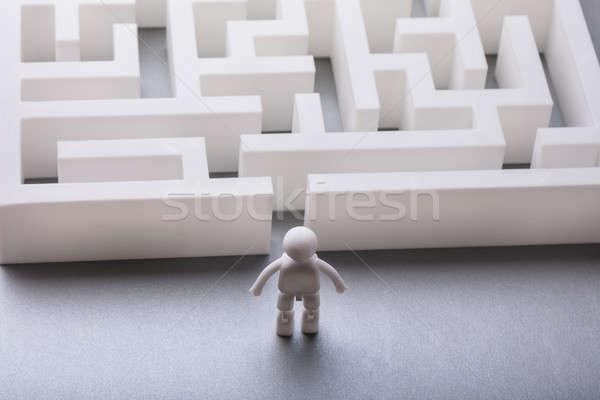 Human Figure Standing Outside Maze Entrance Stock photo © AndreyPopov