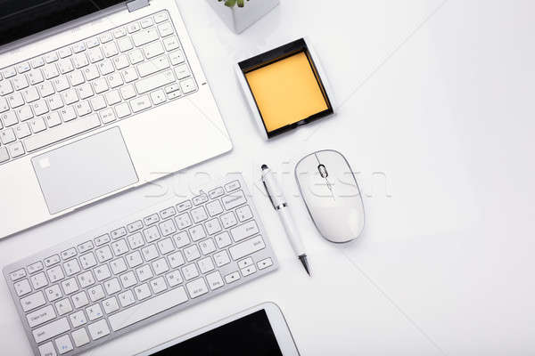 Elevated View Of Various Electronic Devices And Stationeries Stock photo © AndreyPopov