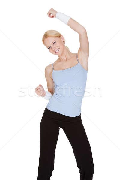 Mooie vrouw genieten zumba fitness geïsoleerd witte Stockfoto © AndreyPopov