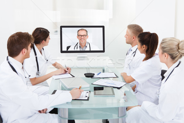 Stock photo: Doctors Attending Video Conference