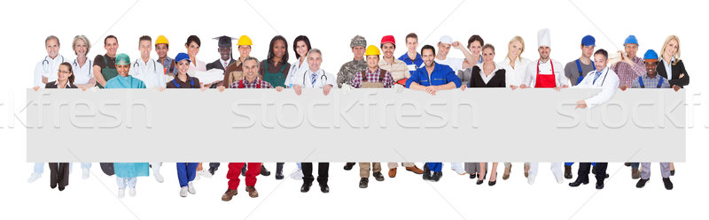 People With Various Occupations Holding Blank Billboard Stock photo © AndreyPopov