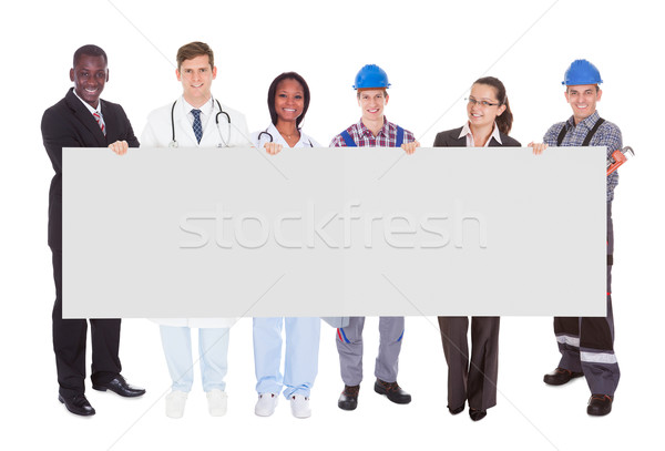 Smiling People With Various Occupations Holding Blank Billboard Stock photo © AndreyPopov