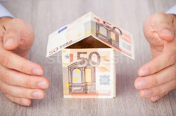 Kezek Euro ház közelkép asztal üzlet Stock fotó © AndreyPopov