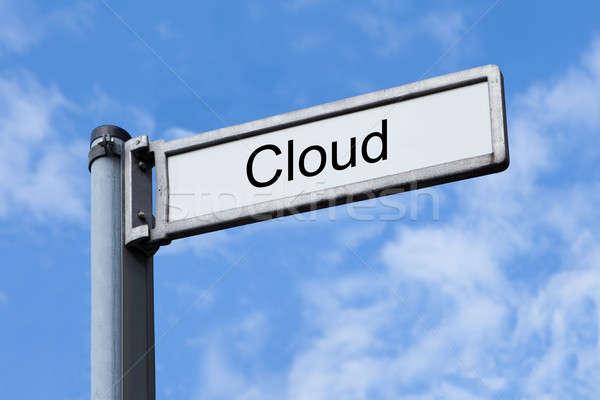 Wegwijzer wolk teken hemel Stockfoto © AndreyPopov