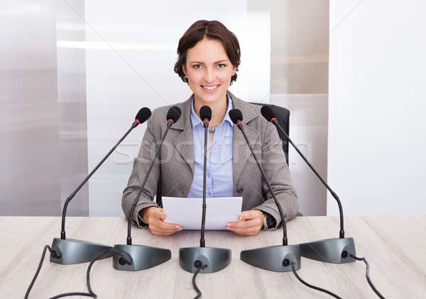 Businesswoman Giving Speech Stock photo © AndreyPopov