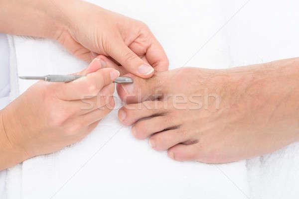 キューティクル 爪 クローズアップ 爪 フィート 女性 ストックフォト © AndreyPopov
