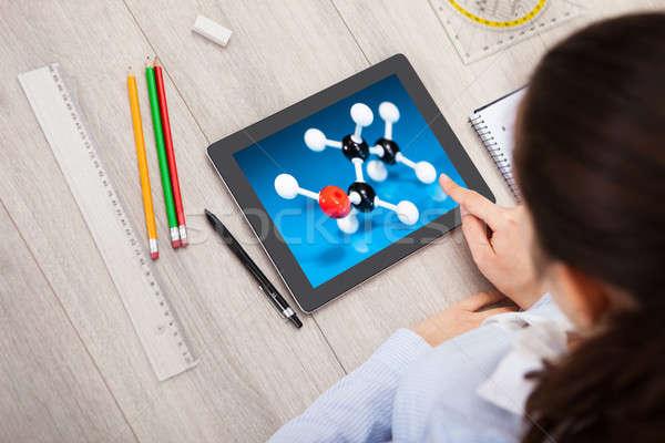 Woman With Digital Tablet Showing Molecule Stock photo © AndreyPopov