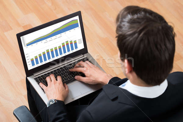 Businessman Checking Financial Report On Laptop Stock photo © AndreyPopov