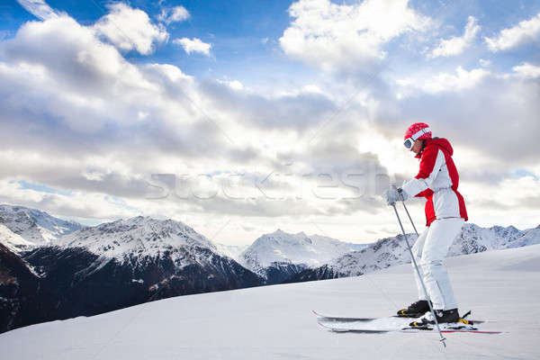 Woman Skiing At Ski Resort Solden Stock photo © AndreyPopov