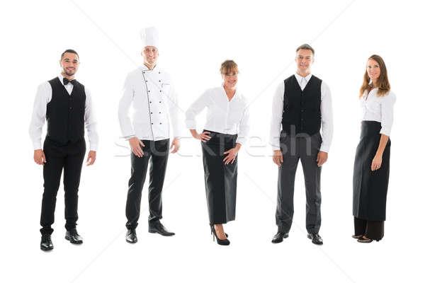 счастливым ресторан сотрудников Постоянный белый Сток-фото © AndreyPopov