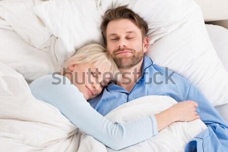 Foto stock: Casal · adormecido · juntos · cama · jovem