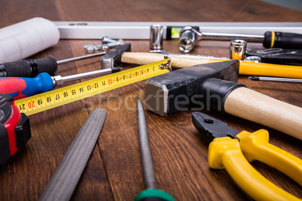 Construction Tools With Blueprint On Desk Stock photo © AndreyPopov