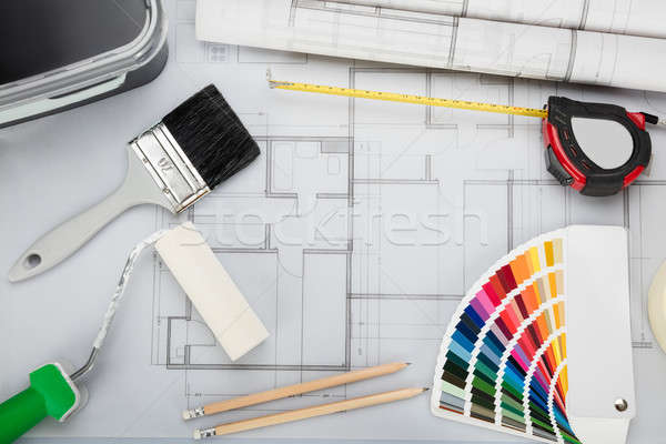 Blueprint With Tools And Equipment On Desk Stock photo © AndreyPopov