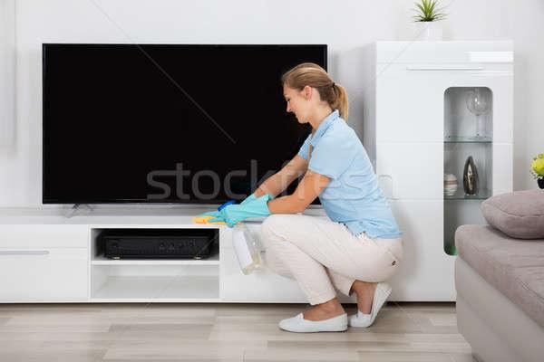 Vrouw schoonmaken huis jonge vrouw meubels home Stockfoto © AndreyPopov