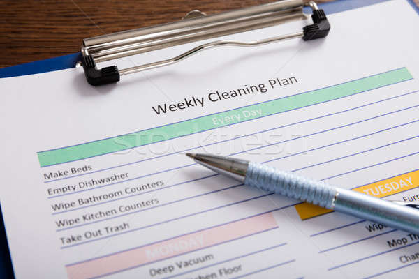 Close-up Of Weekly Cleaning Plan Form Stock photo © AndreyPopov