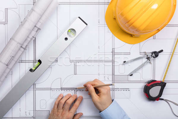 Foto stock: Arquiteto · mãos · trabalhando · diagrama · ver