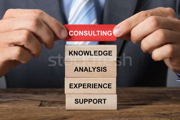 Hand Building Consulting Concept With Wooden Blocks Stock photo © AndreyPopov