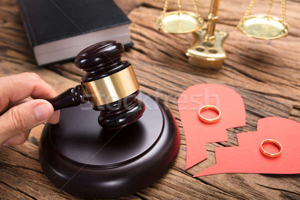 Judge Hitting Mallet By Broken Paper Heart With Rings Stock photo © AndreyPopov