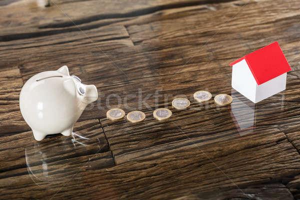 Euro érmék persely ház modell fából készült Stock fotó © AndreyPopov