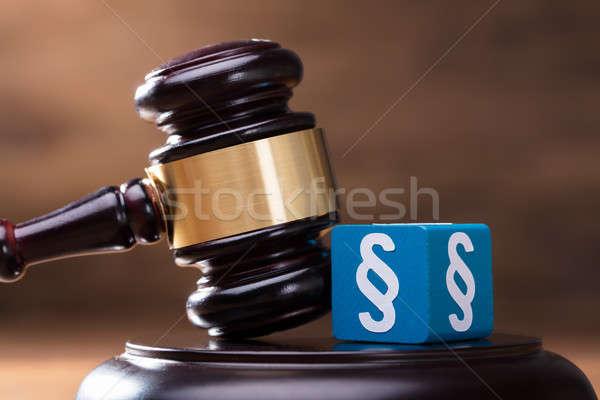 Paragraphe marteau juge bleu bois Photo stock © AndreyPopov