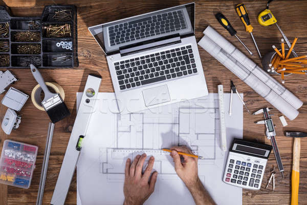 Architecture's Hand Drawing Blueprint Stock photo © AndreyPopov
