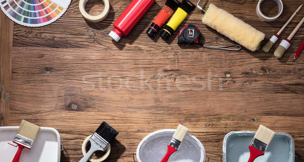 Color Swatch With Paint Brush And Tubes Of Oil Paint Stock photo © AndreyPopov