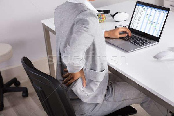 Kobieta interesu krzesło zdrowia bar biurko Zdjęcia stock © AndreyPopov