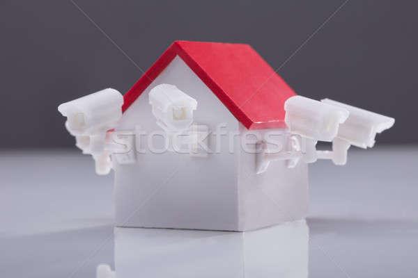 Közelkép ház modell megfigyelés kamera tükröződő Stock fotó © AndreyPopov