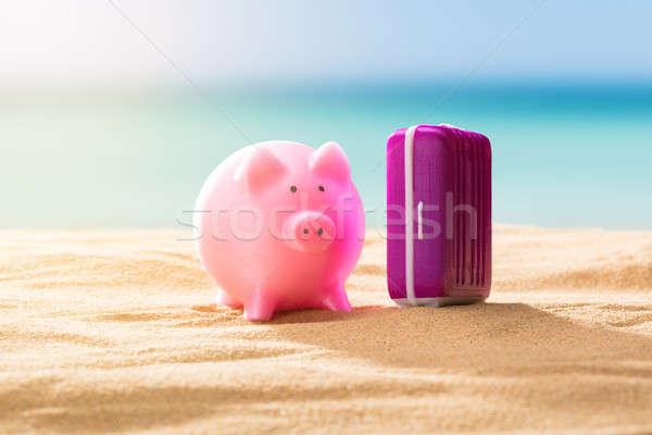 Primo piano rosa salvadanaio bagaglio spiaggia di sabbia spiaggia Foto d'archivio © AndreyPopov