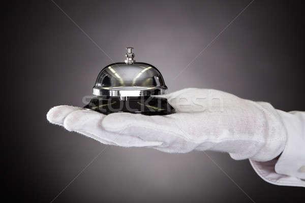 Stock fotó: Kéz · tart · szolgáltatás · harang · közelkép · fehér