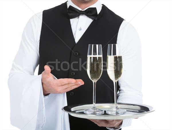 Kelner szampana flety taca biały Zdjęcia stock © AndreyPopov
