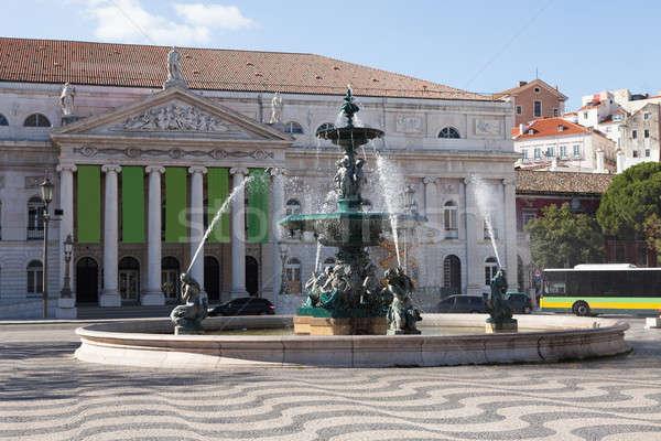 Szökőkút kívül színház tér Lisszabon Portugália Stock fotó © AndreyPopov