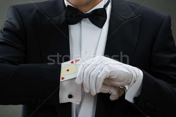 Mágico truque de mágica cartões cinza fundo Foto stock © AndreyPopov