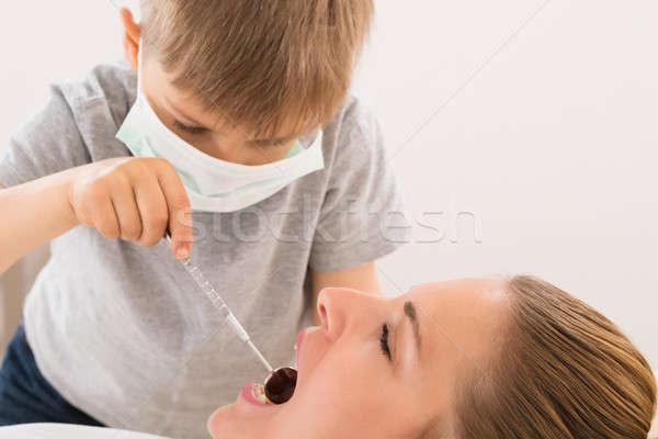 少年 調べる 歯 女性 クローズアップ ストックフォト © AndreyPopov