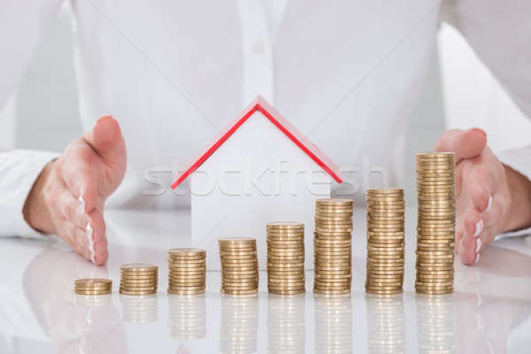 Close-up Of Businesswoman Protecting Coins And House Model Stock photo © AndreyPopov